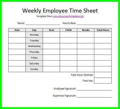 hourly time sheets