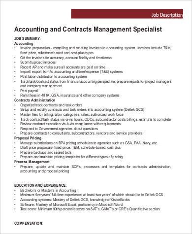 Contract Specialist Job Description Sample - 9+ Examples in PDF
