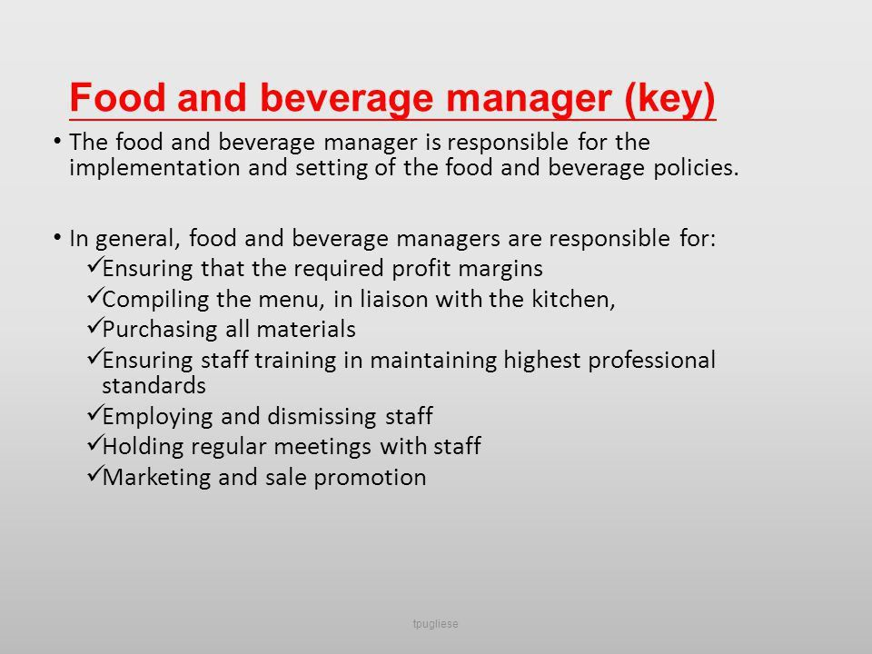 Introduction to Food and Beverage Management - ppt video online ...