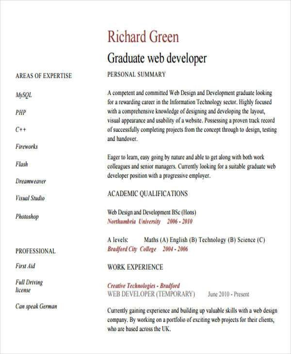 7+ Web Developer Resume Templates - Free Samples, Examples Format ...