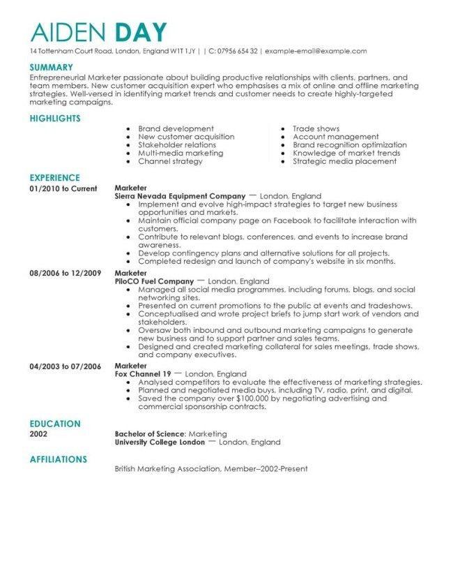 Professional Marketing Resume Sample : Vinodomia