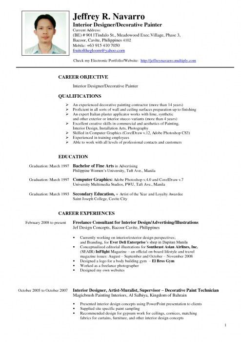 Awesome Resume Samples For Interior Designers | Resume Format Web