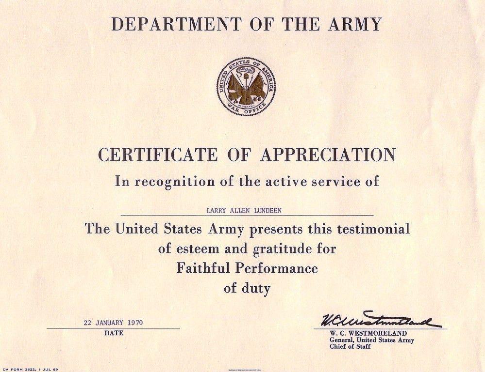 army certificate of appreciation template sample
