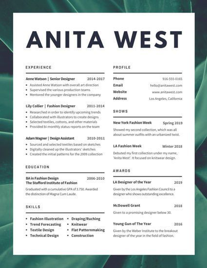 Lush Fashion Designer Resume - Templates by Canva