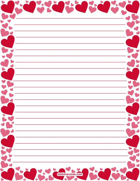 Printable red and pink heart stationery and writing paper ...