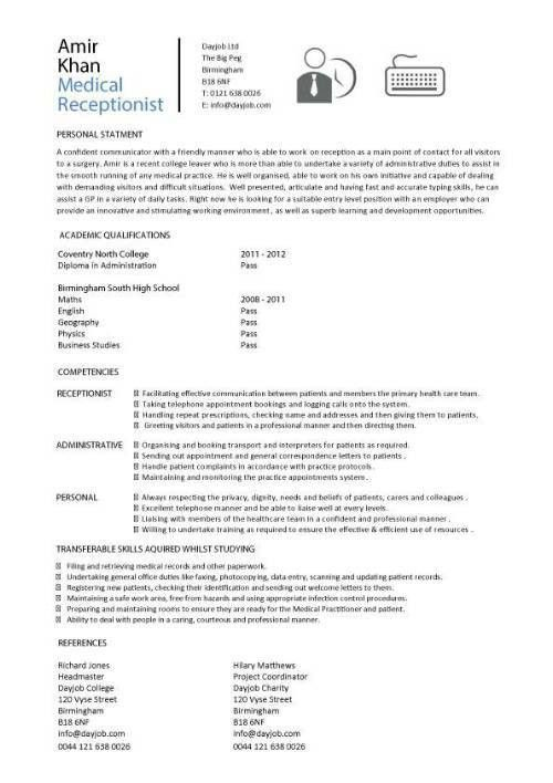 Medical receptionist CV template, job description, resume, sample ...