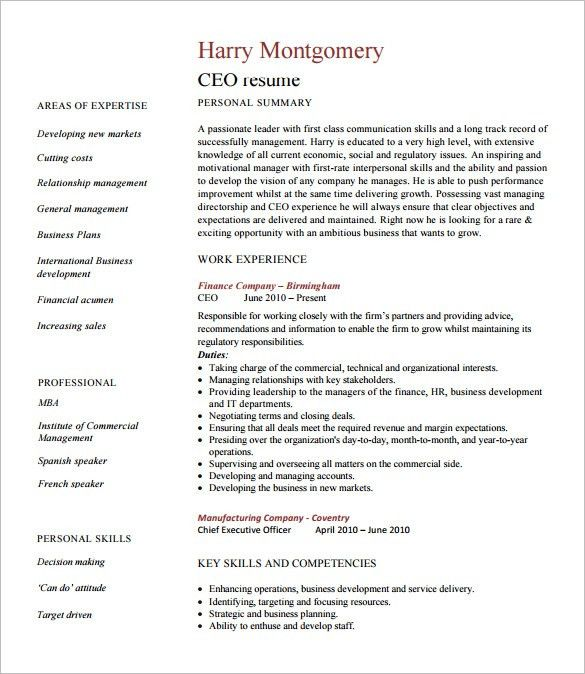 Chief Executive Officer Resume Template – 8+ Free Word, Excel, PDF ...