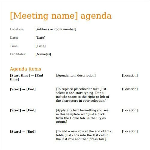 group meeting agenda template