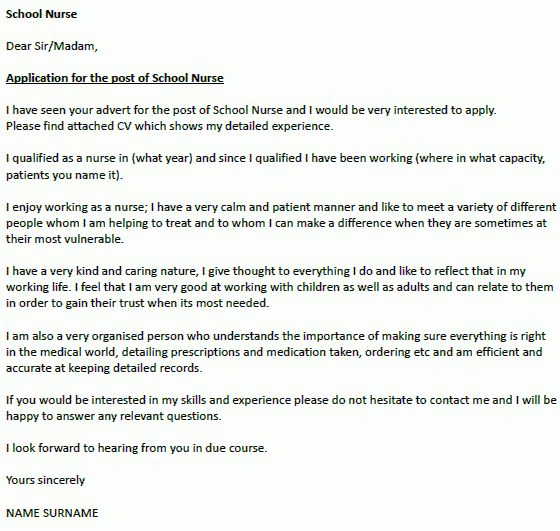 School Nurse Cover Letter Example - icover.org.uk