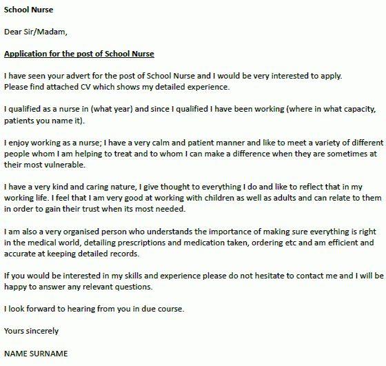 Application letter nurse job