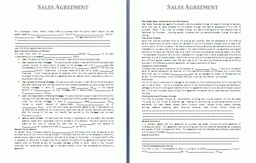 Sales Agreement Template | Free Agreement Templates