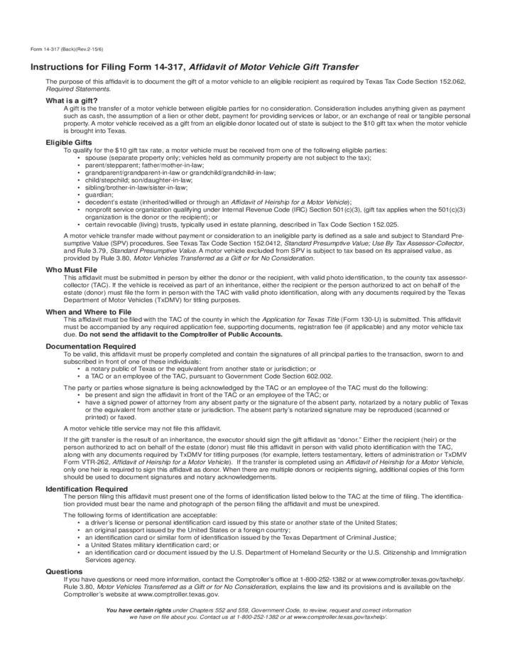 Gift Affidavit Form - Texas Free Download