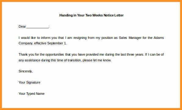 8+ handing notice letter | cook resume