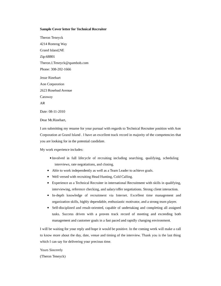 Basic Technical Recruiter Cover Letter Samples and Templates