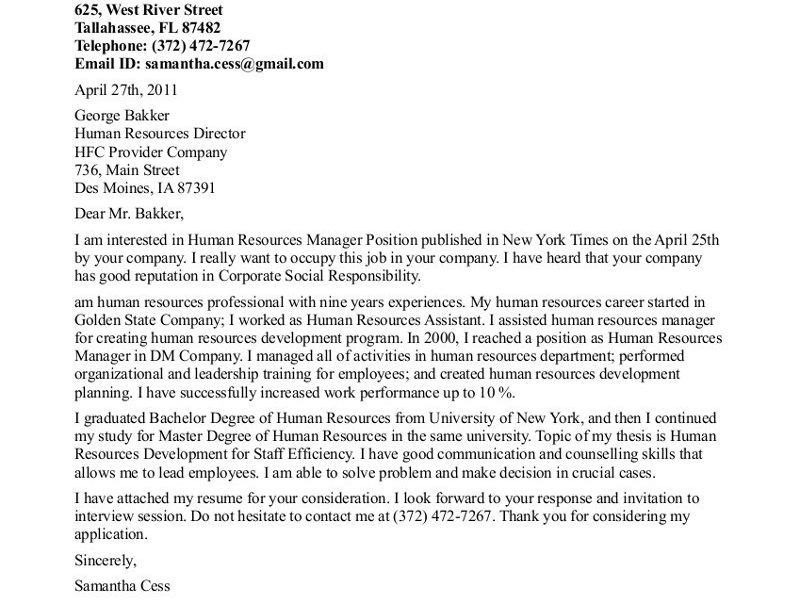 Excellent Design Ideas Cover Letter For Human Resources 16 Resume ...