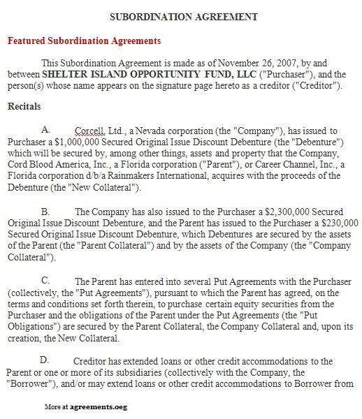 Subordination Agreement, Sample Subordination Agreement Template ...