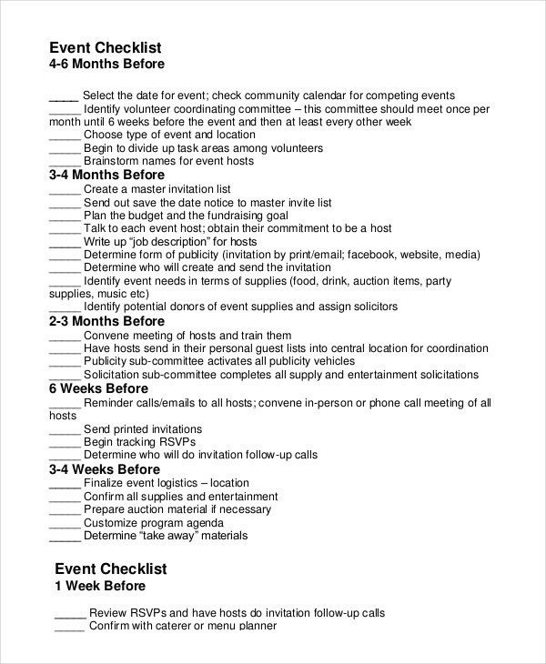 Event Planning Checklist - 11+ Free Word, PDF Documents Download ...