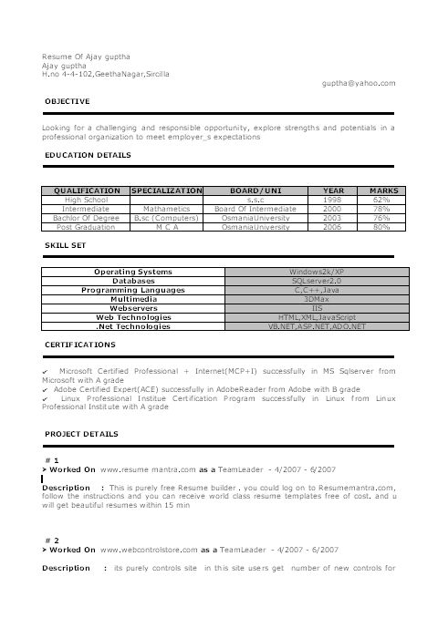best resumes for freshers freshers cv format best resume format ...