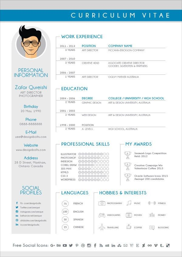 Free Modern CV / Resume Design Template For Graphic Designers