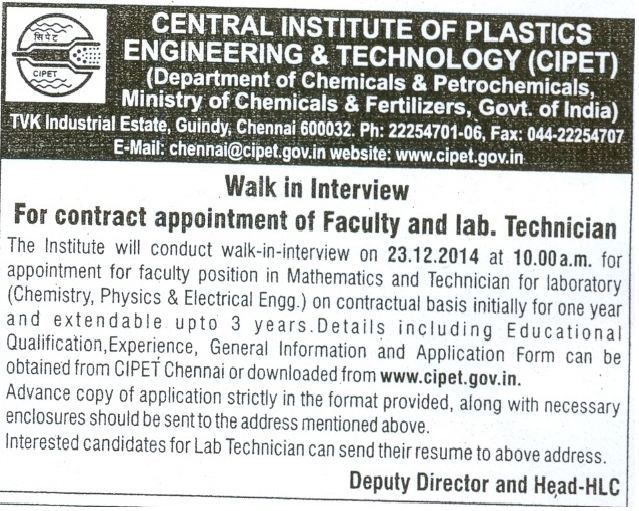 Central Institute of Plastics Engineering and Technology (CIPET ...