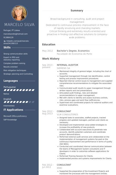 Internal Auditor Resume samples - VisualCV resume samples database