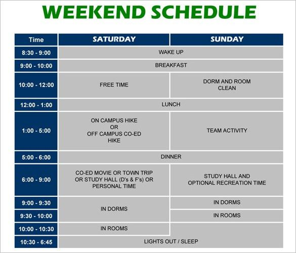 Weekend Schedule Template – 8+ Free Word, Excel, PDF, Format ...