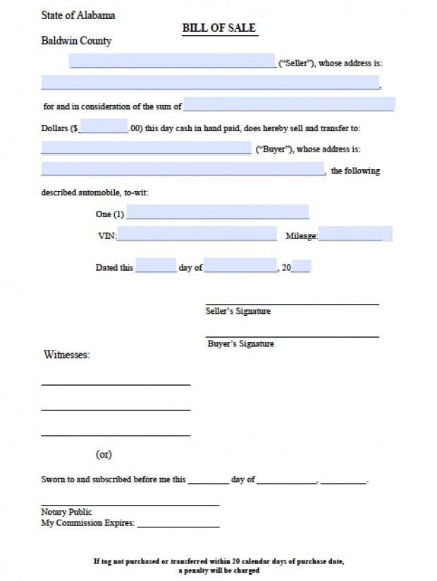 Free Baldwin County, Alabama Bill of Sale Form | PDF | Word (.doc)