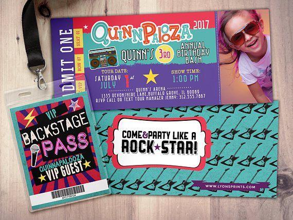 Rock Star-Concert ticket birthday invitation girl birthday