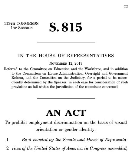 Employment Non-Discrimination Act of 2013 (2013; 113th Congress S ...