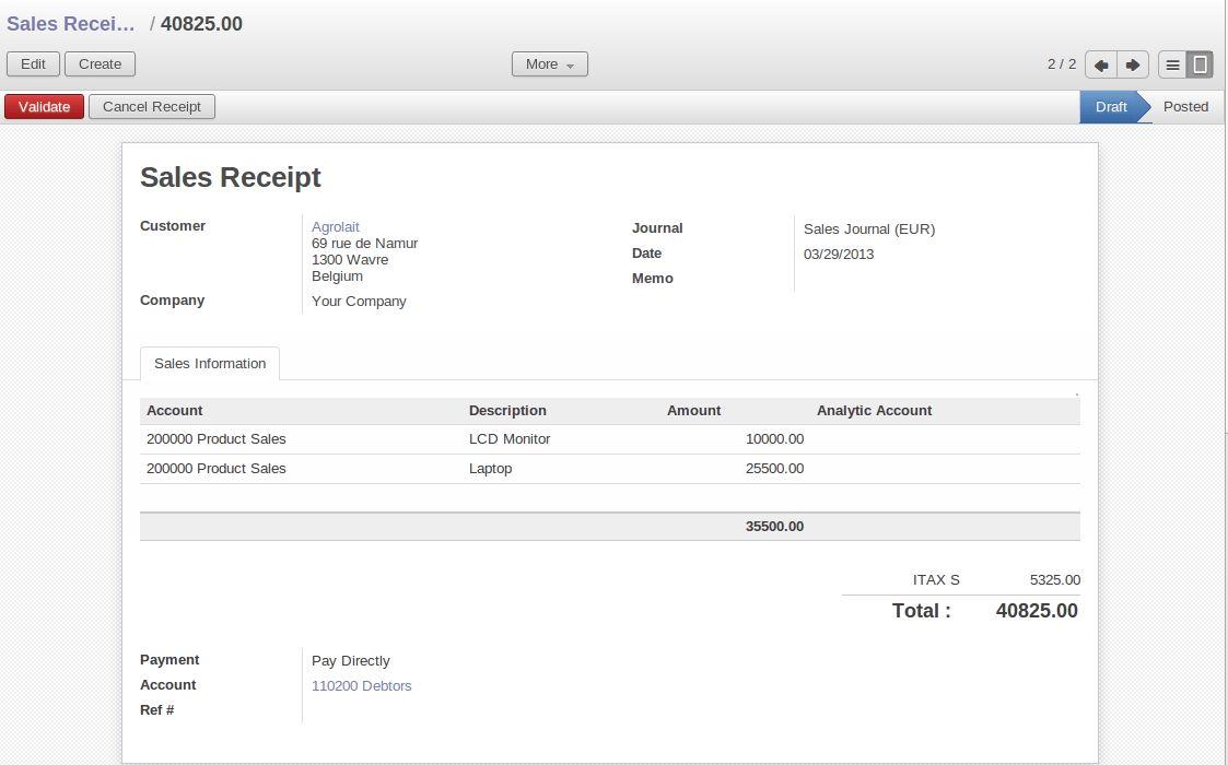 Simple Customer Receipts — Odoo Book 8.0 documentation