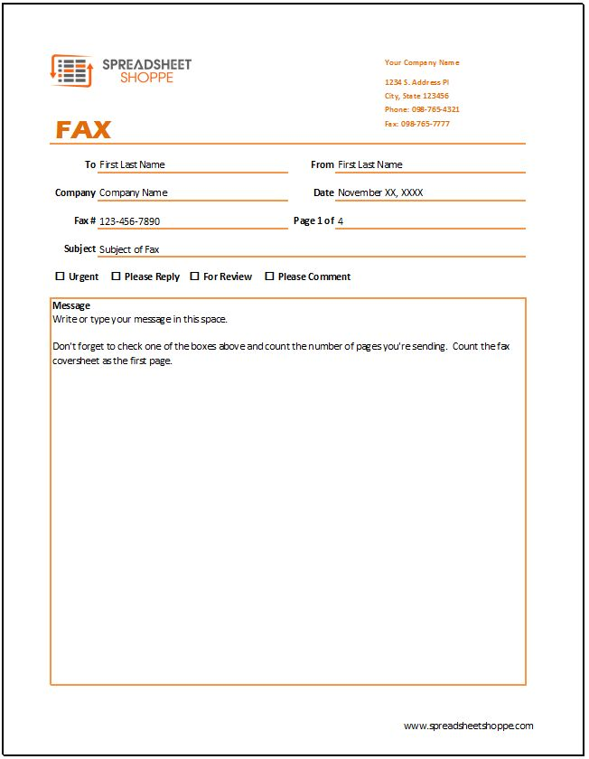 Fax Cover Sheet Template - Spreadsheetshoppe