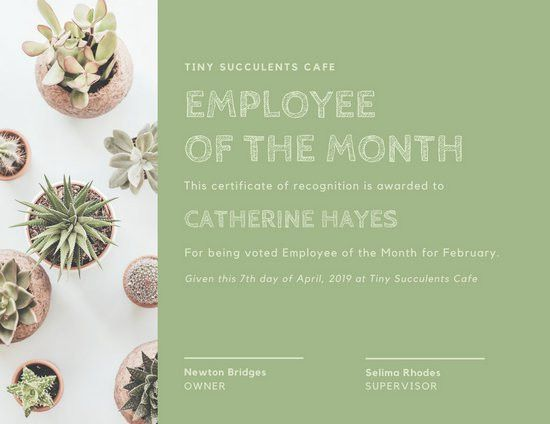 Pale Green Succulents Employee of the Month Certificate ...