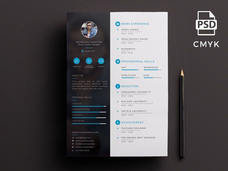 Creative Resume Template | free psd | UI Download