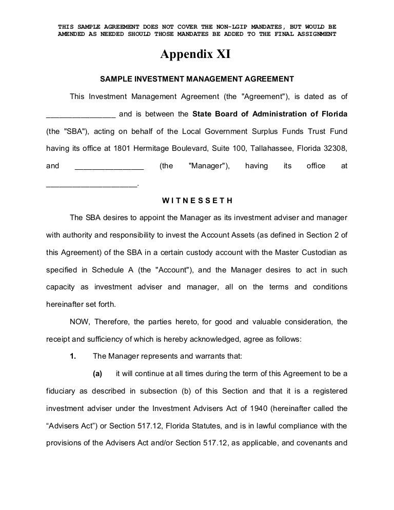 Enhanced Cash (Investment Management Agreement Form)
