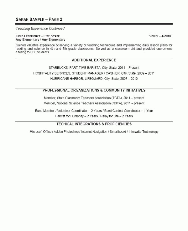 Elementary School Teacher Resume Example - Sample