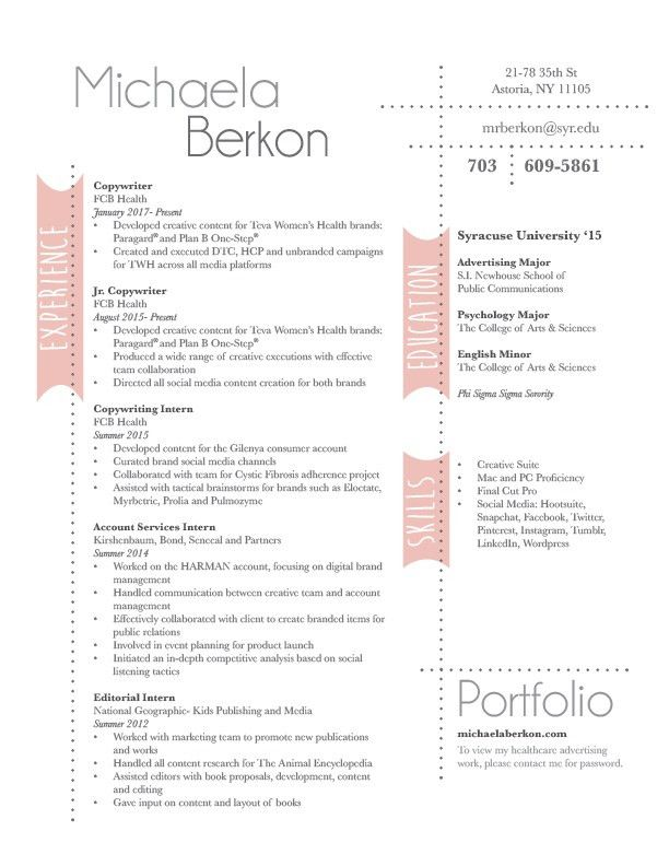 Resume — Michaela Berkon