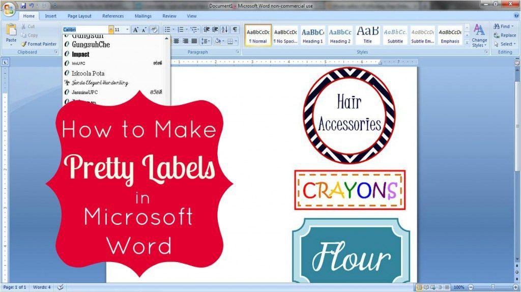 How to Make Pretty Labels in Microsoft Word | Microsoft word ...