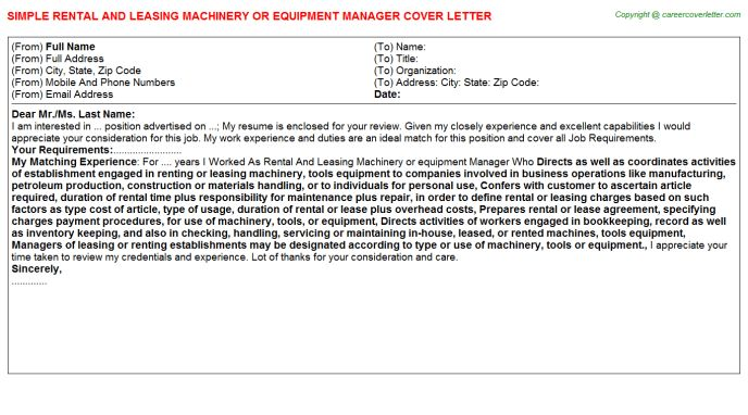 Rental And Leasing Machinery Or Equipment Manager Cover Letter