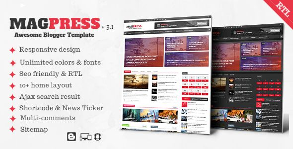 Magpress - Magazine Responsive Blogger Template by themelet ...
