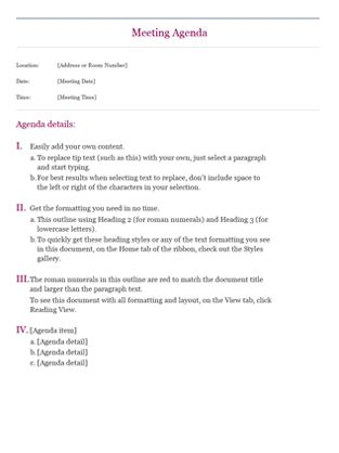 excel meeting agenda template