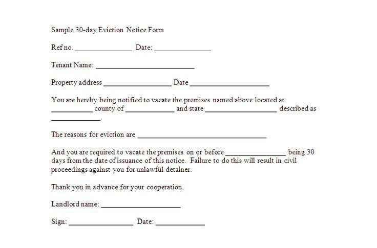 30 day notice to vacate form