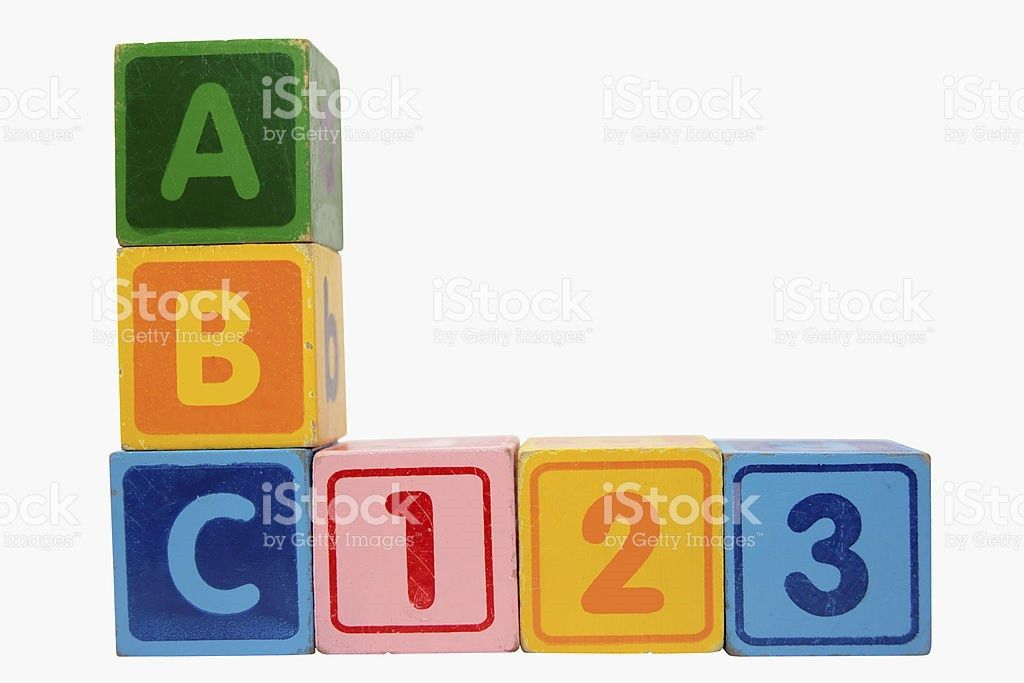 Abc 123 In Wood Block Letters With Clipping Path stock photo ...