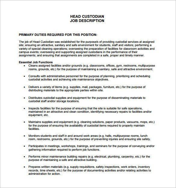 Custodian Job Description Template – 9+ Free Word, PDF Format ...