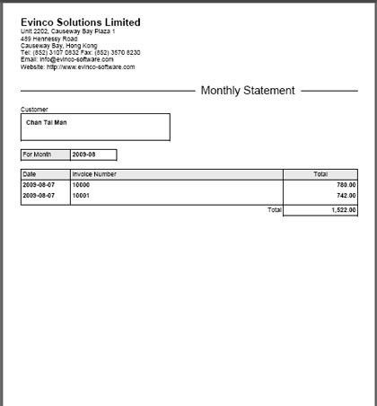 Monthly Statement | EasyBilling Invoicing Software User Guide