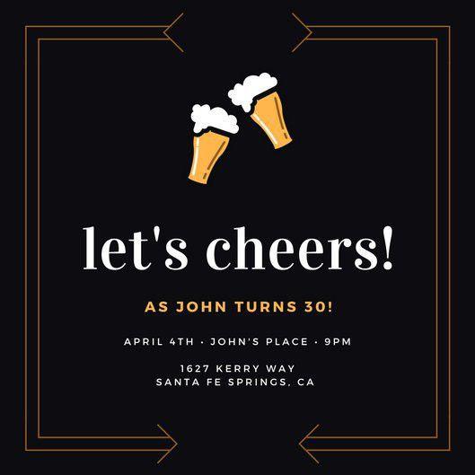 Dark Blue Beer 30th Birthday Invitation - Templates by Canva