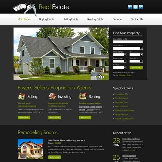 Real Estate Website Templates | cyberuse