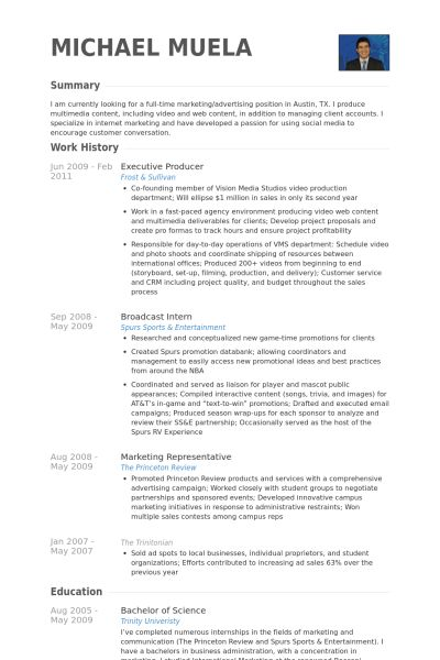 Executive Producer Resume samples - VisualCV resume samples database