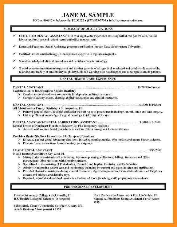 dental assistant duties for resumes