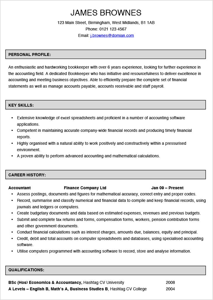 Bookkeeper CV Example | Hashtag CV