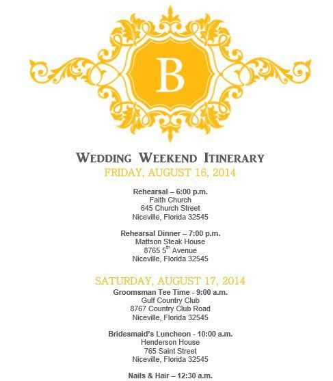 Party Itinerary Template. wedding itinerary wedding itinerary ...